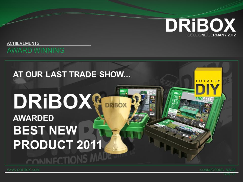 DRiBOX DRiBOX BEST NEW PRODUCT 2011 AT OUR LAST TRADE SHOW... AWARDED