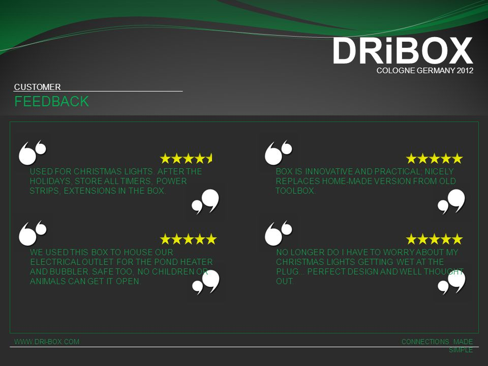 DRiBOX FEEDBACK CUSTOMER