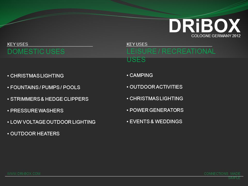 DRiBOX DOMESTIC USES LEISURE / RECREATIONAL USES CHRISTMAS LIGHTING