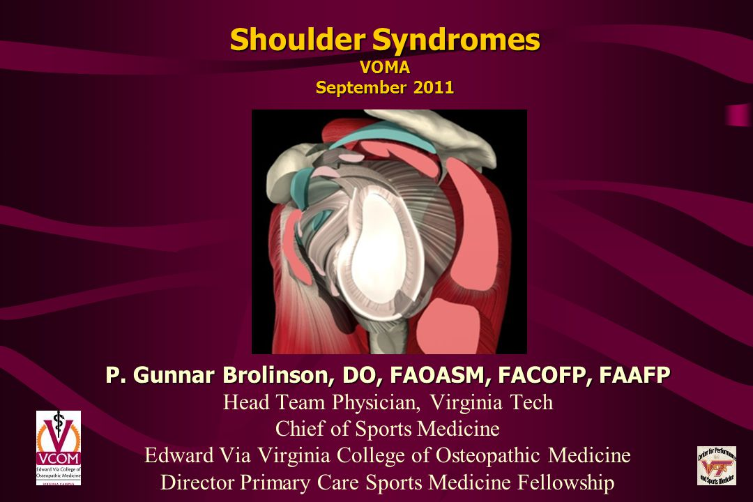 Shoulder Syndromes VOMA September 2011
