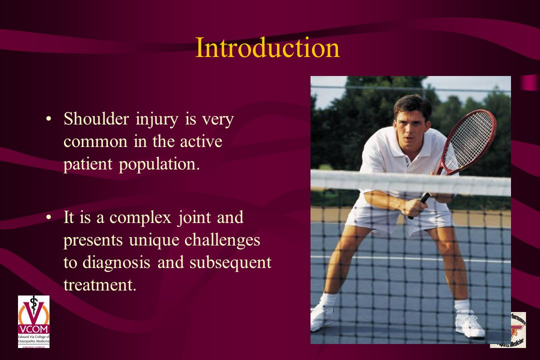 Introduction Shoulder injury is very common in the active patient population.