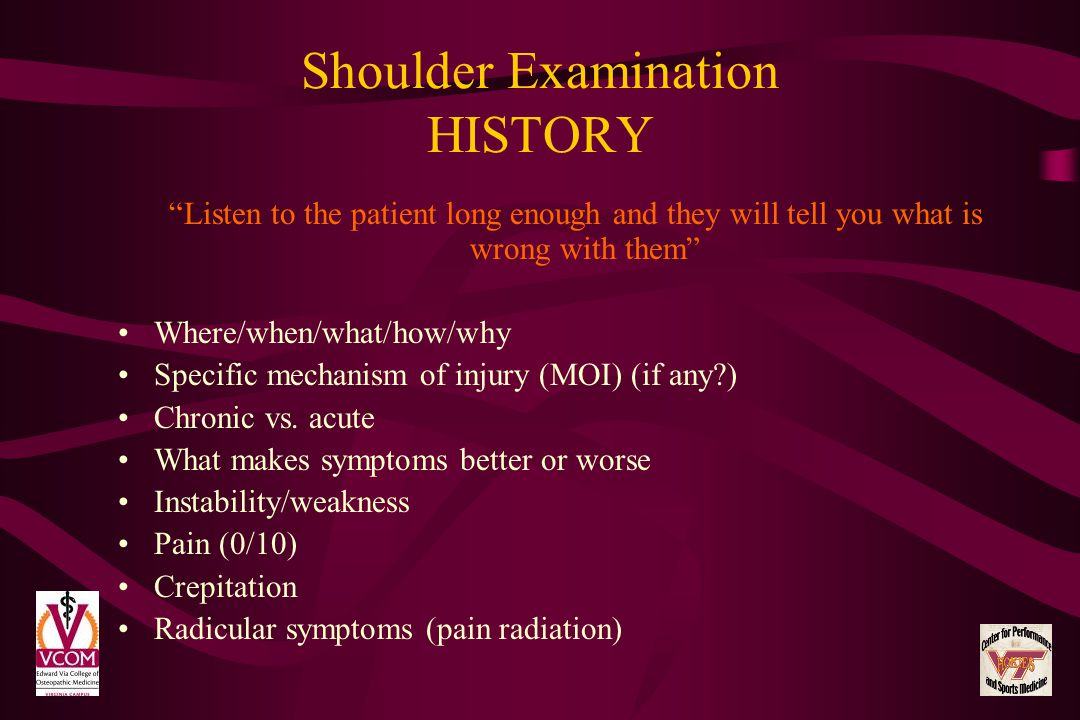 Shoulder Examination HISTORY