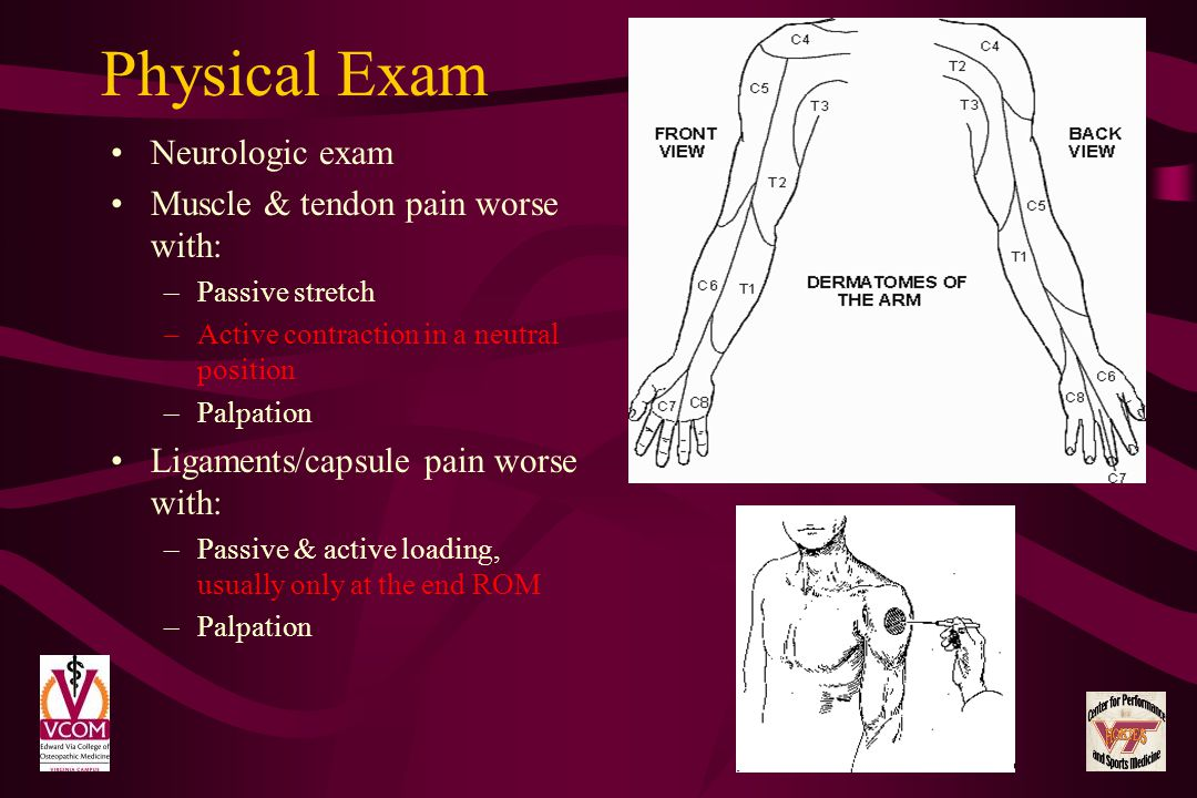 Physical Exam Neurologic exam Muscle & tendon pain worse with: