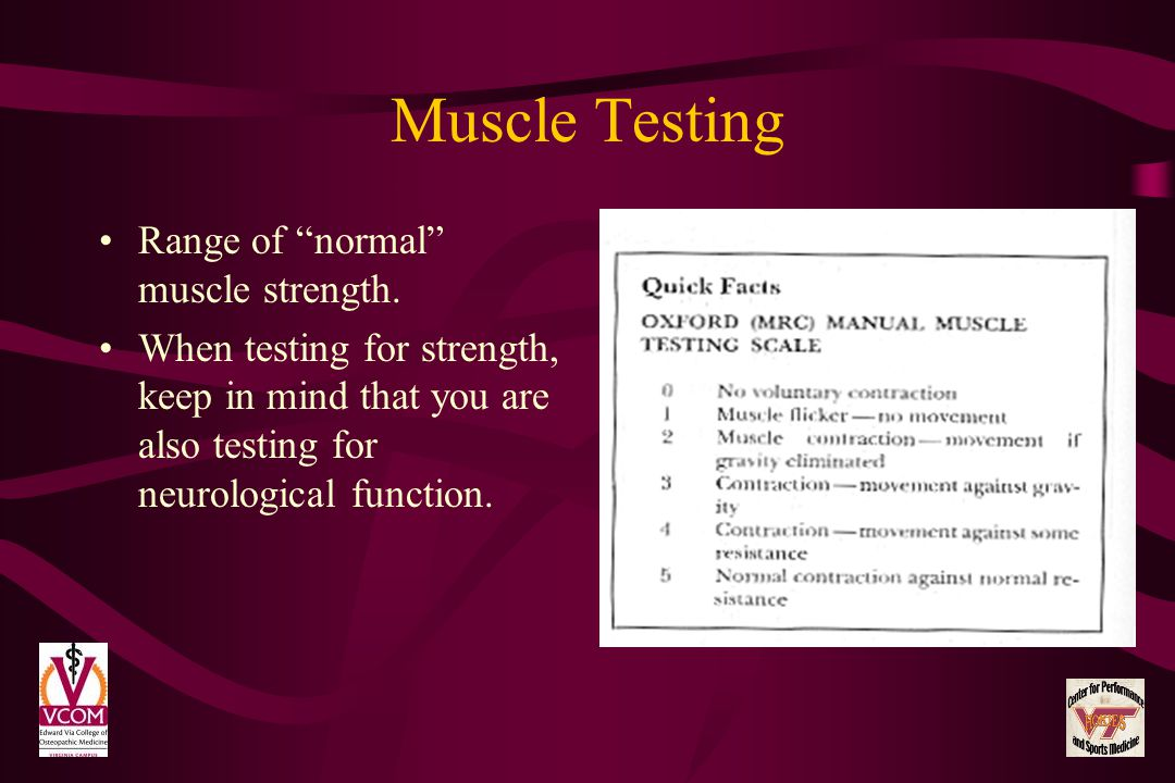Muscle Testing Range of normal muscle strength.