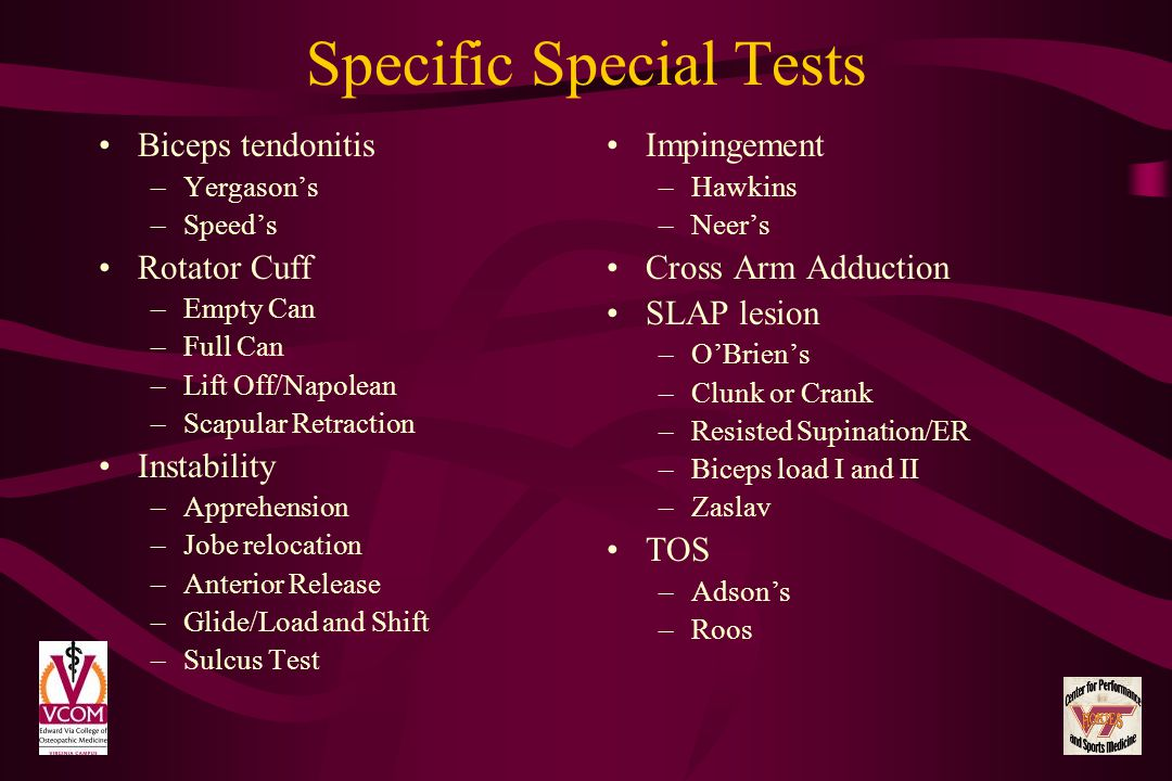Specific Special Tests