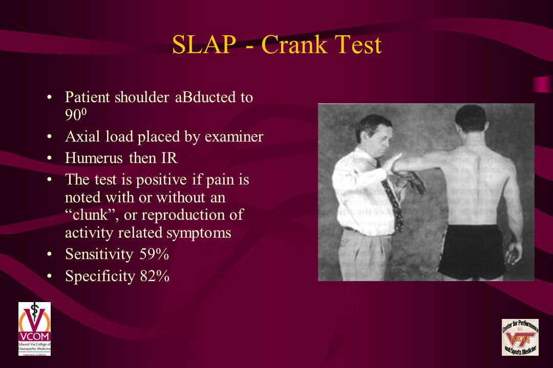 SLAP - Crank Test Patient shoulder aBducted to 900