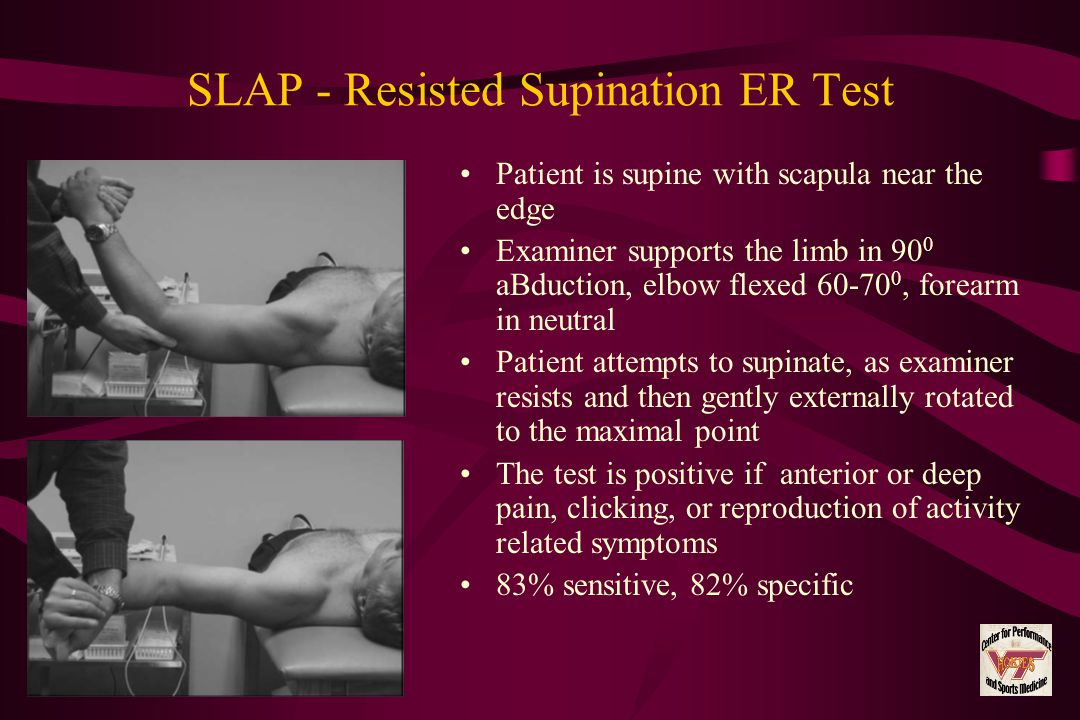 SLAP - Resisted Supination ER Test