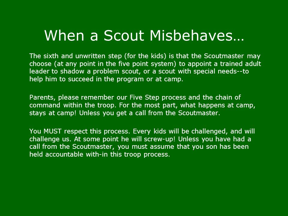 When a Scout Misbehaves…