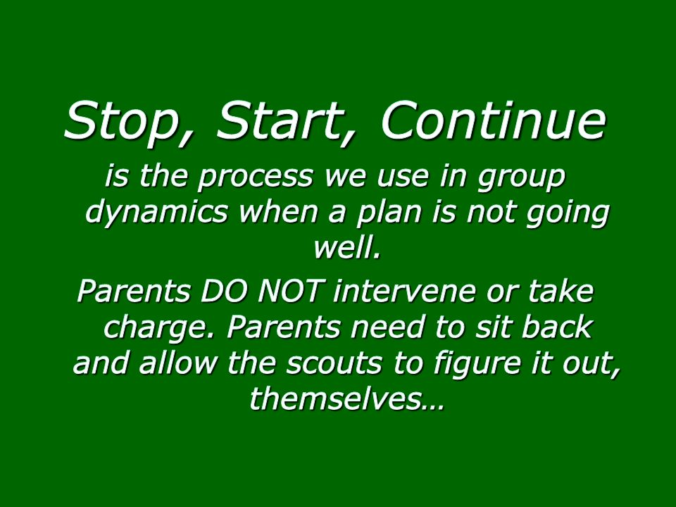 is the process we use in group dynamics when a plan is not going well.