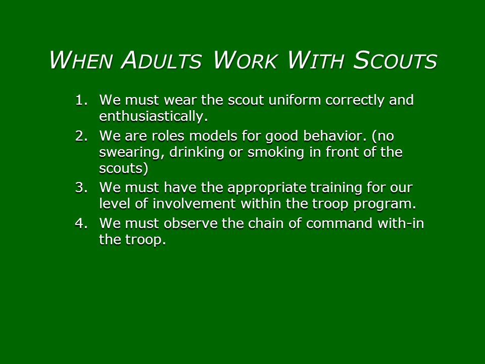 When Adults Work With Scouts