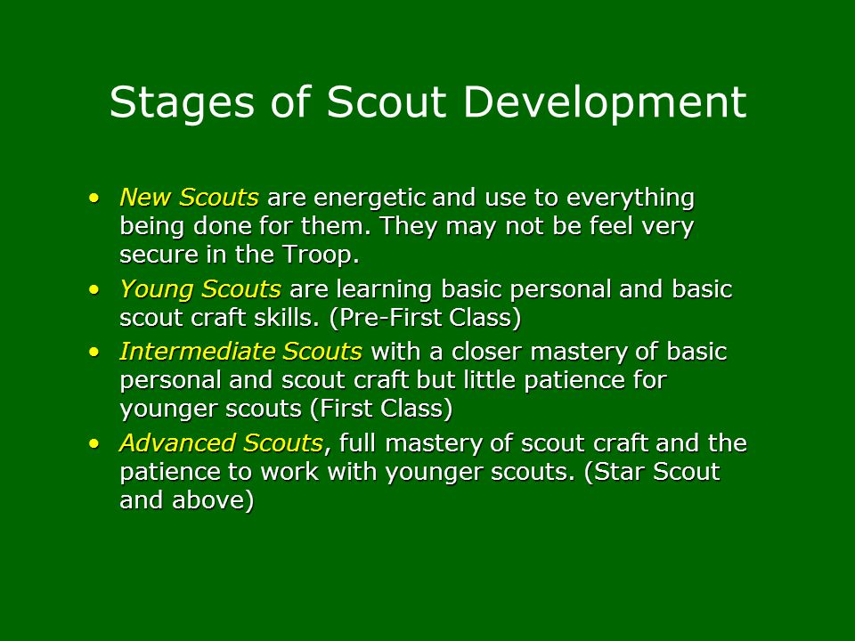 Stages of Scout Development