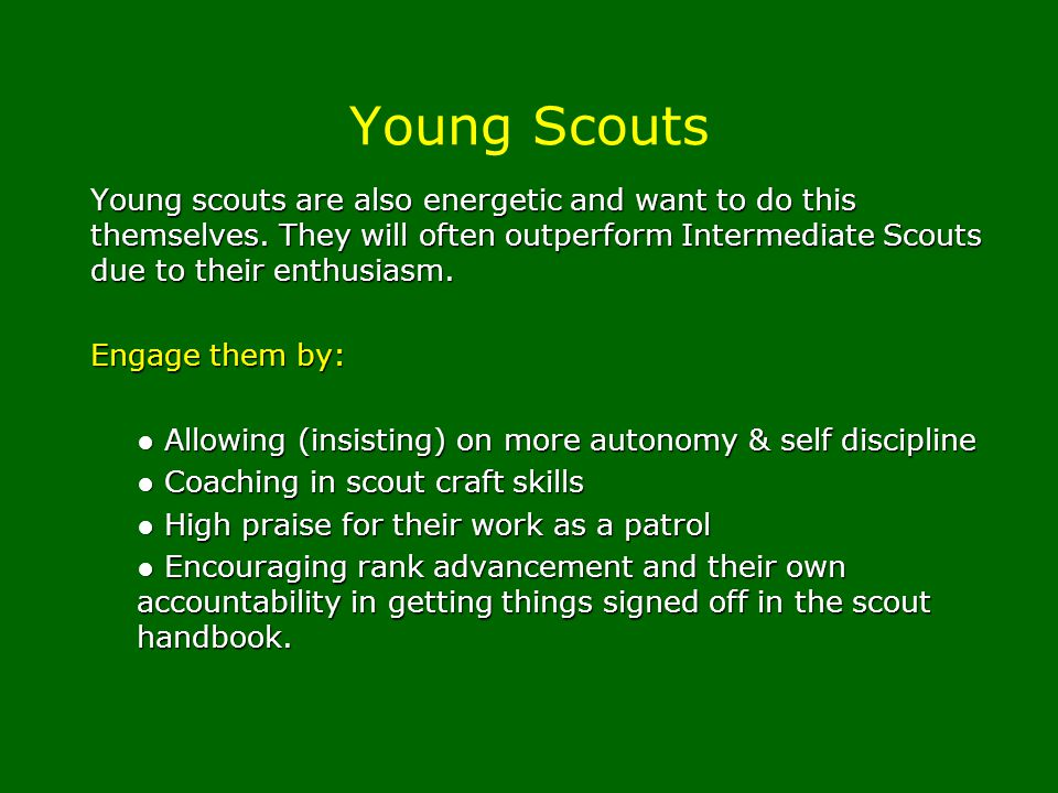 Young Scouts Young scouts are also energetic and want to do this themselves. They will often outperform Intermediate Scouts due to their enthusiasm.