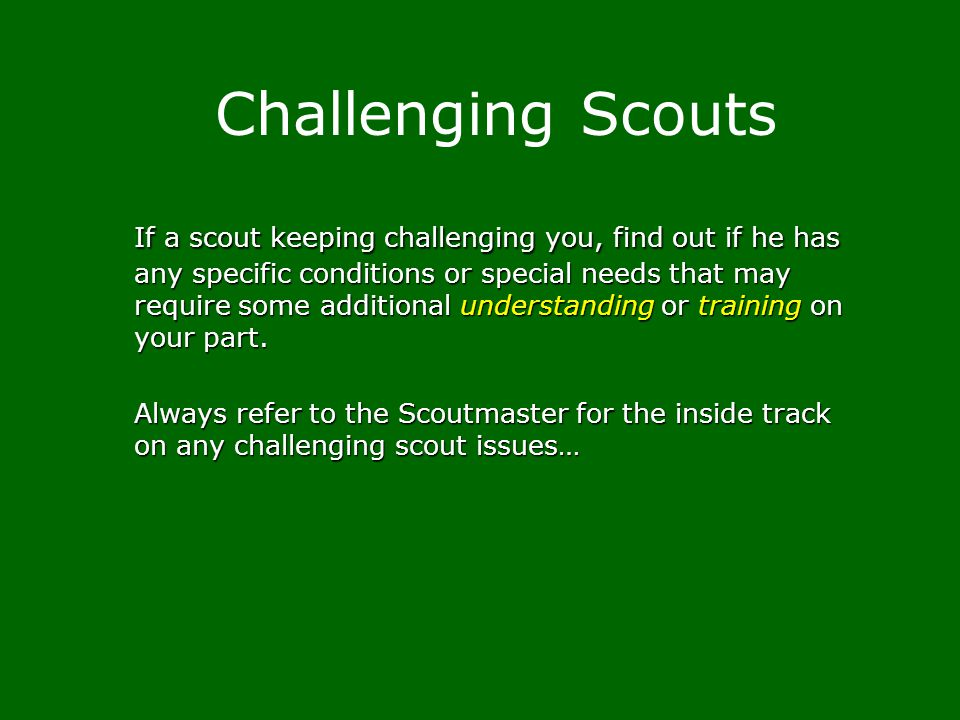 Challenging Scouts