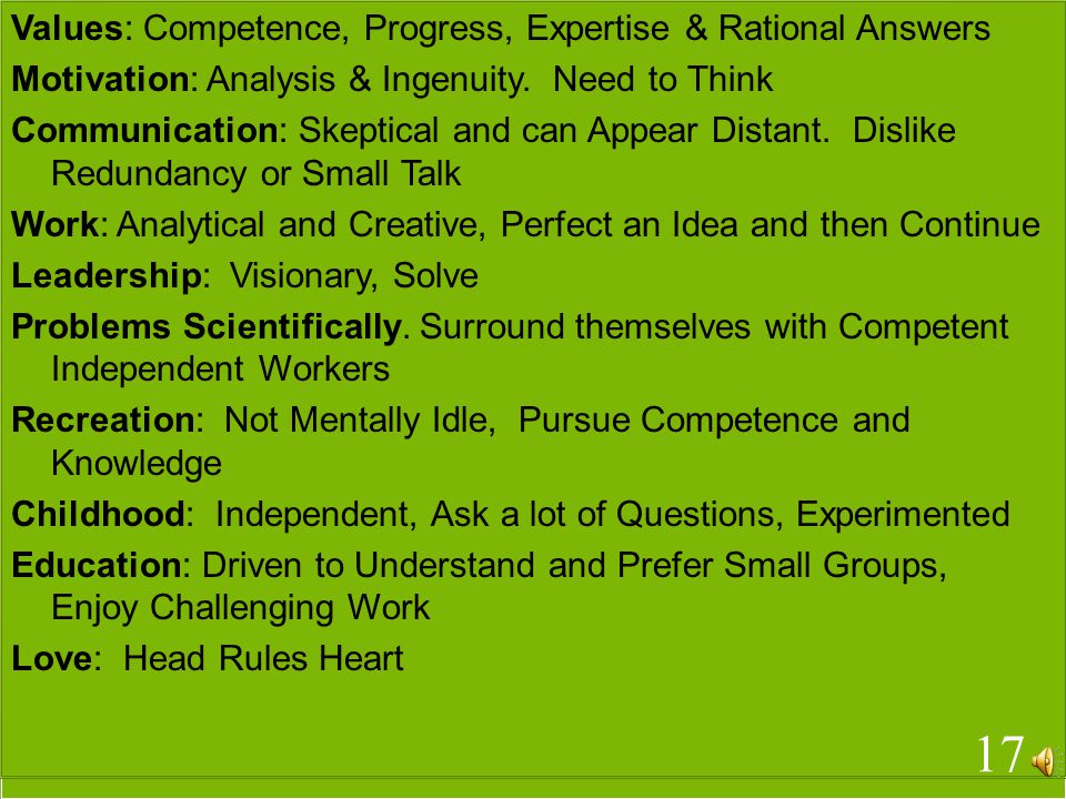 Values: Competence, Progress, Expertise & Rational Answers