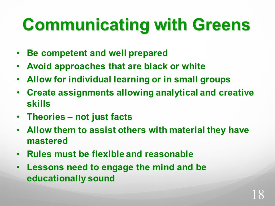 Communicating with Greens