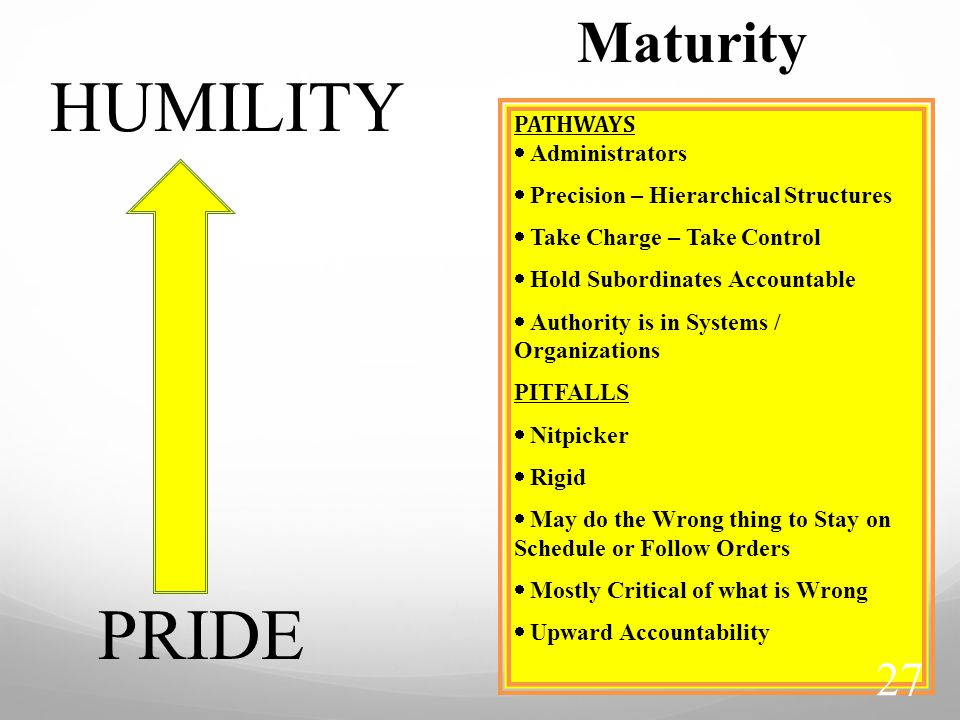 HUMILITY PRIDE Maturity PATHWAYS  Administrators