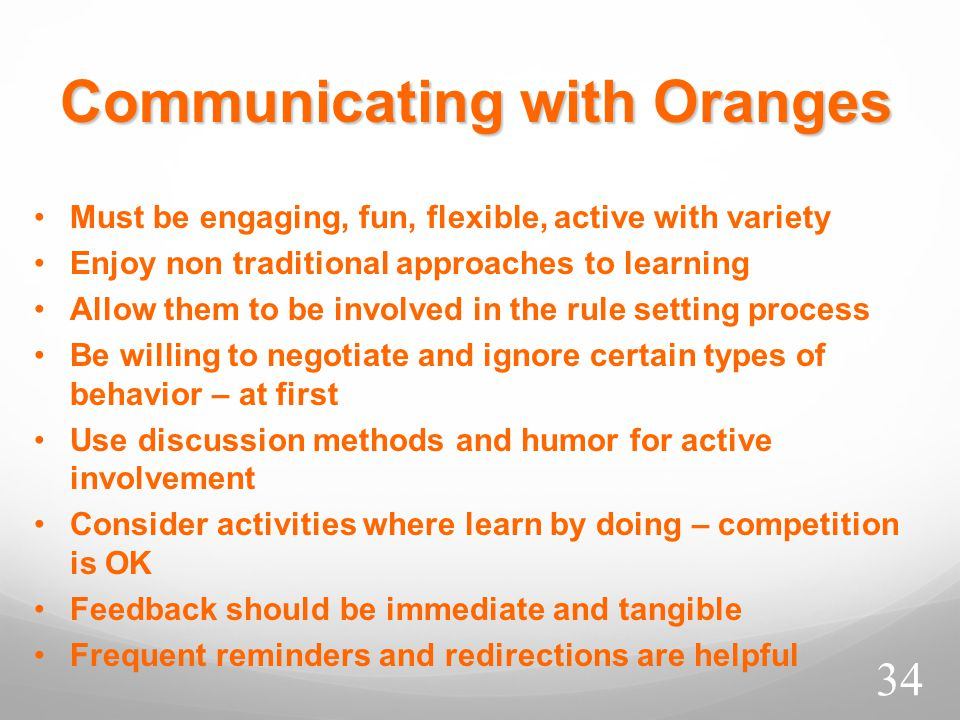 Communicating with Oranges