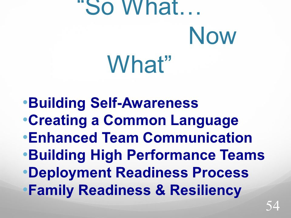 So What… Now What Building Self-Awareness Creating a Common Language