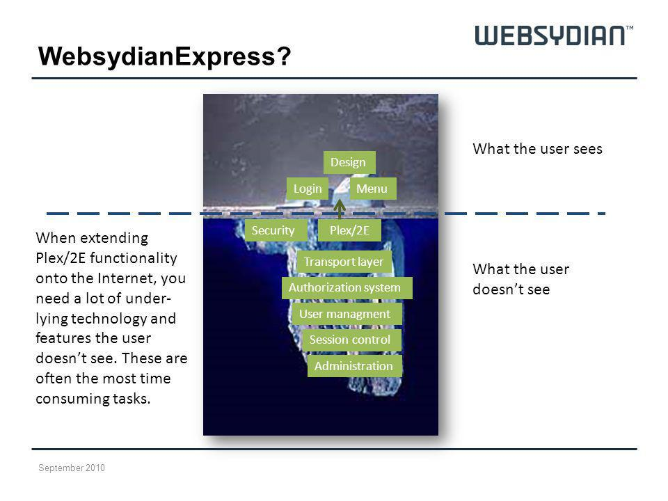WebsydianExpress What the user sees