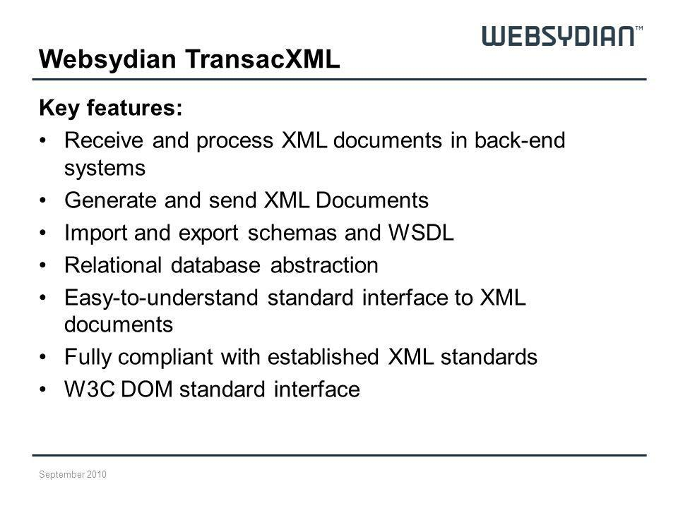 Websydian TransacXML Key features: