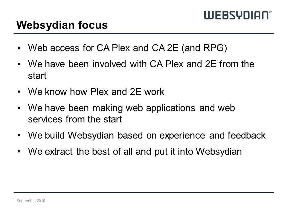 Websydian focus Web access for CA Plex and CA 2E (and RPG)