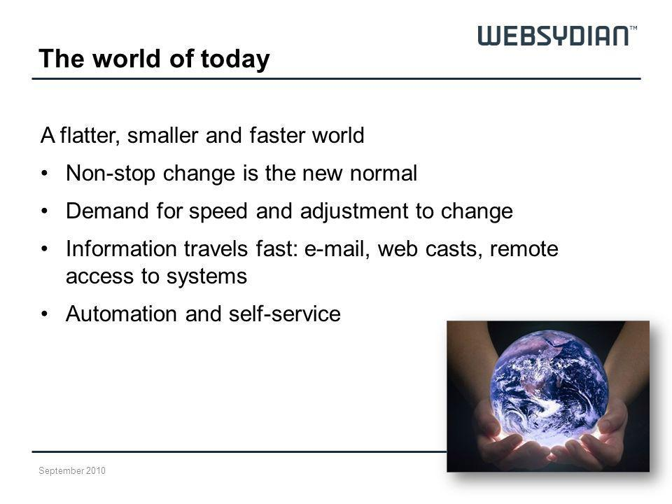 The world of today A flatter, smaller and faster world