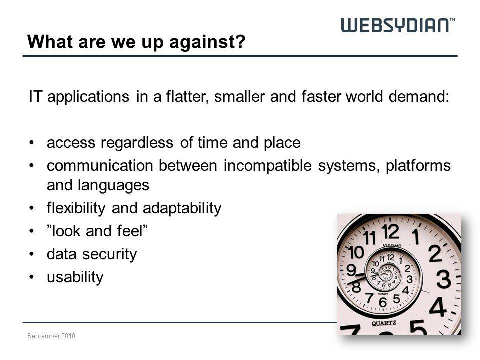 What are we up against IT applications in a flatter, smaller and faster world demand: access regardless of time and place.