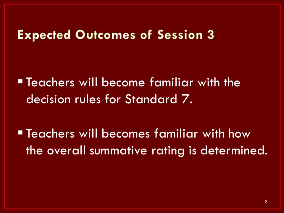 Expected Outcomes of Session 3