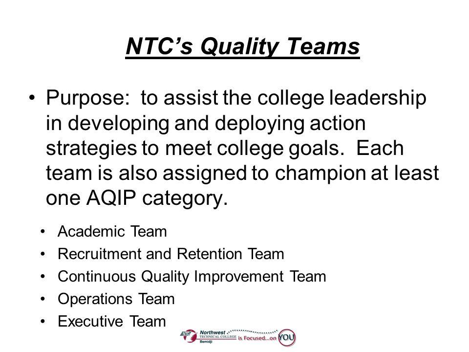 NTC's Quality Teams