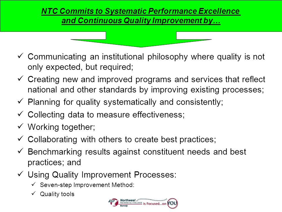 Planning for quality systematically and consistently;