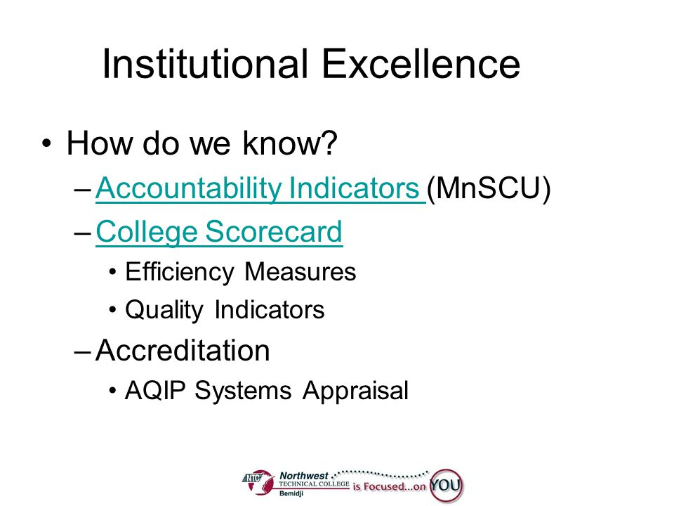 Institutional Excellence