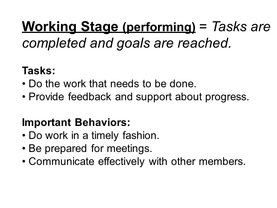 Working Stage (performing) = Tasks are