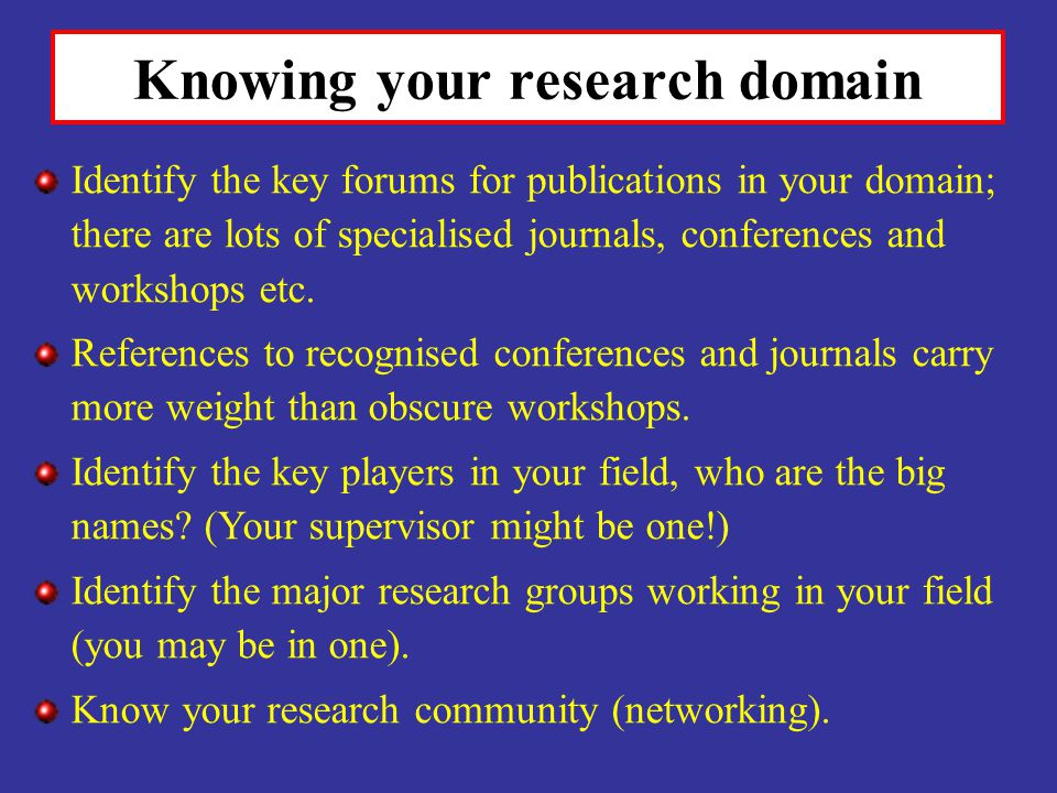 Knowing your research domain