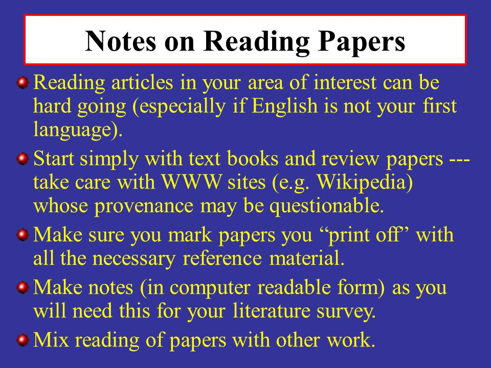 Notes on Reading Papers