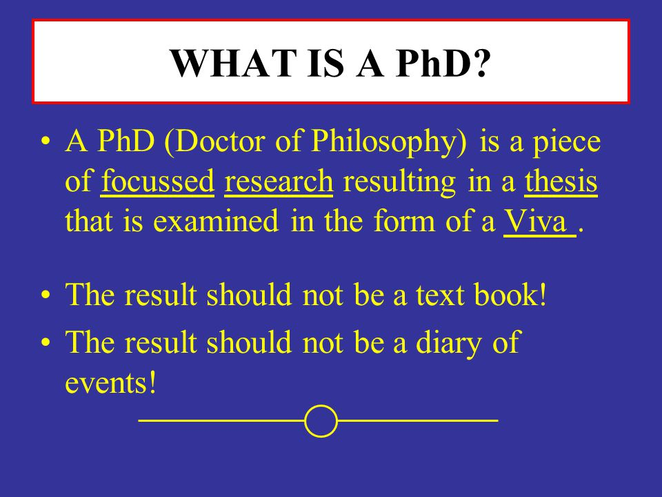 WHAT IS A PhD A PhD (Doctor of Philosophy) is a piece of focussed research resulting in a thesis that is examined in the form of a Viva .