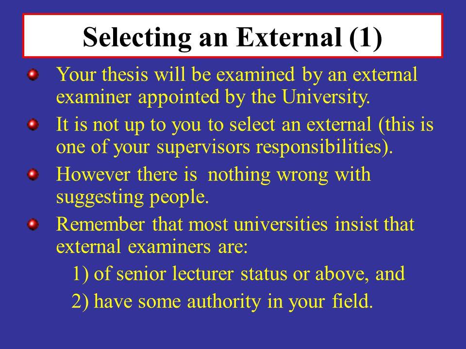 Selecting an External (1)