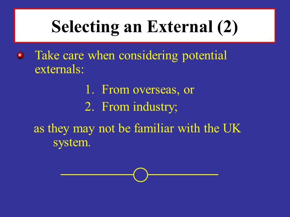 Selecting an External (2)