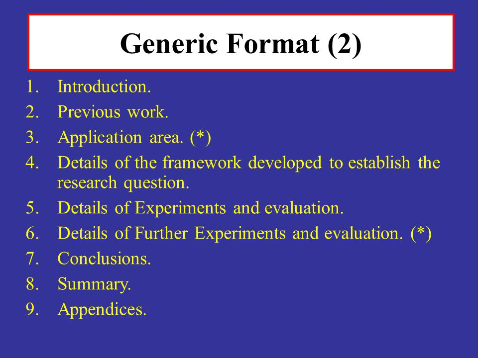 Generic Format (2) Introduction. Previous work. Application area. (*)