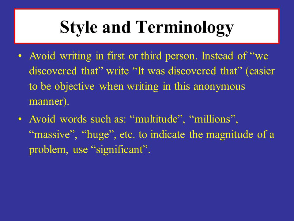 Style and Terminology