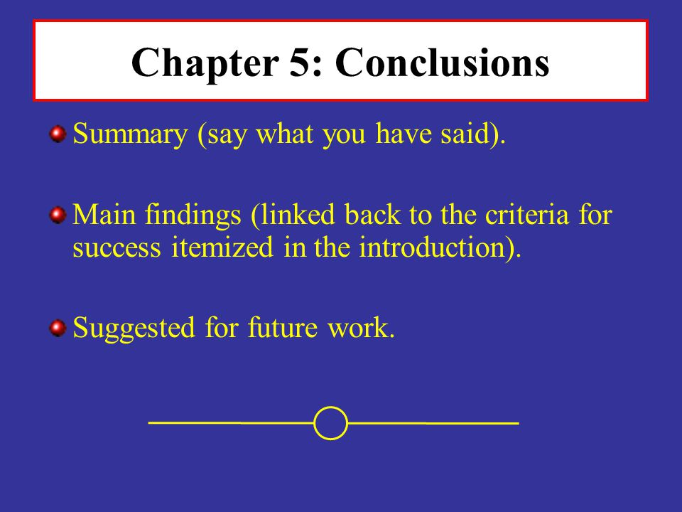 Chapter 5: Conclusions Summary (say what you have said).