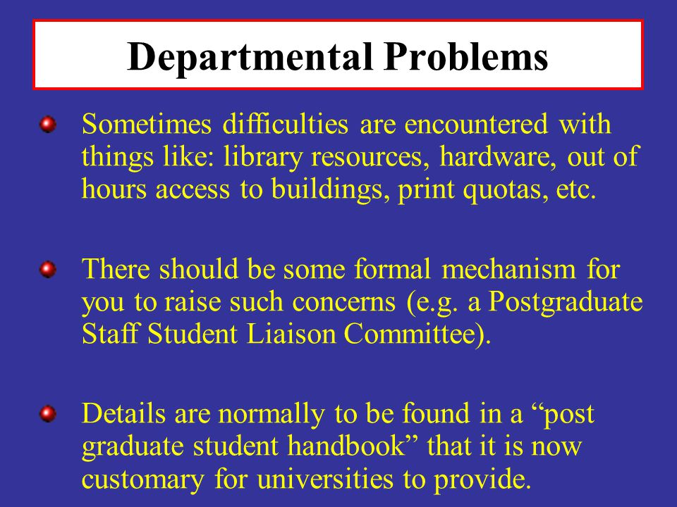 Departmental Problems