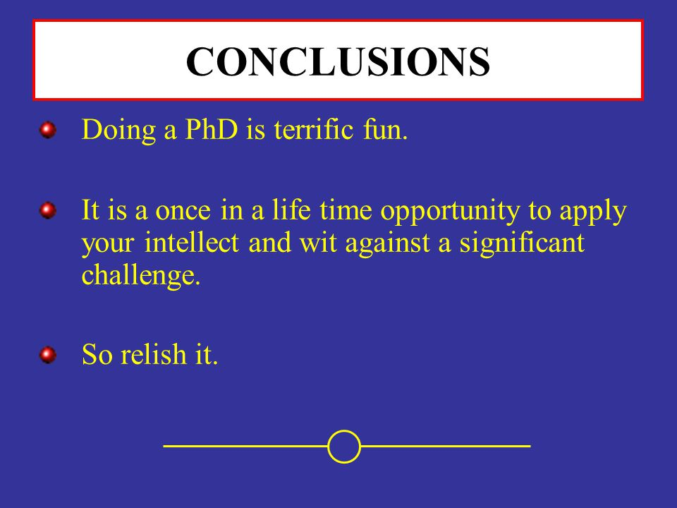 CONCLUSIONS Doing a PhD is terrific fun.
