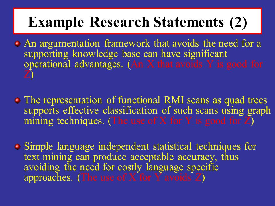 Example Research Statements (2)