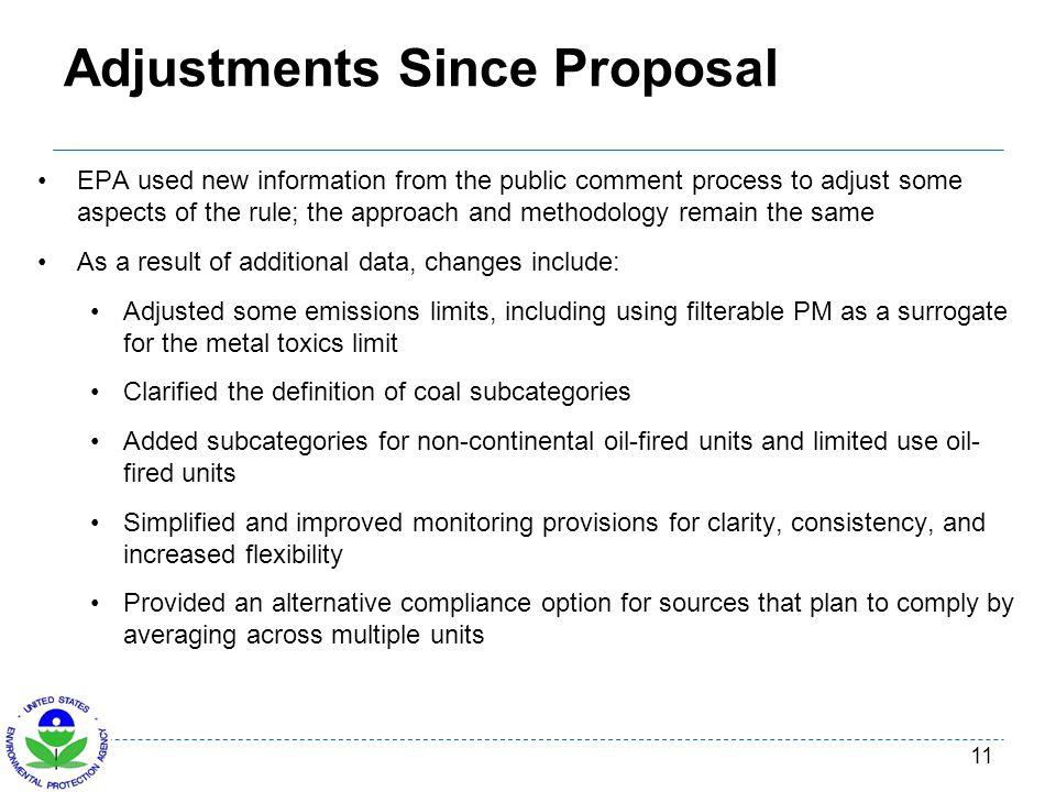 Adjustments Since Proposal
