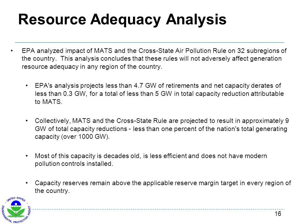 Resource Adequacy Analysis