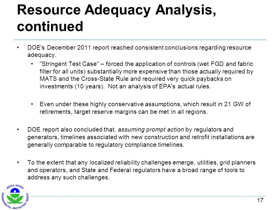 Resource Adequacy Analysis, continued