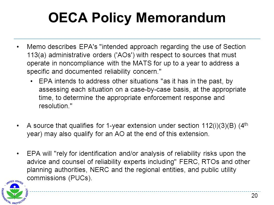OECA Policy Memorandum