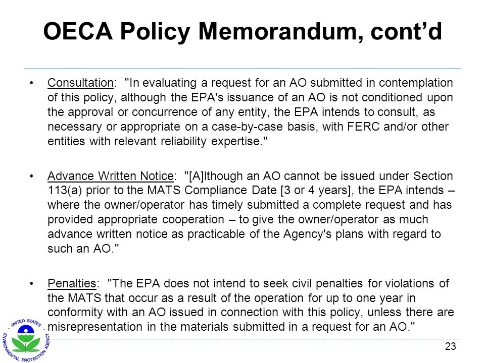 OECA Policy Memorandum, cont'd