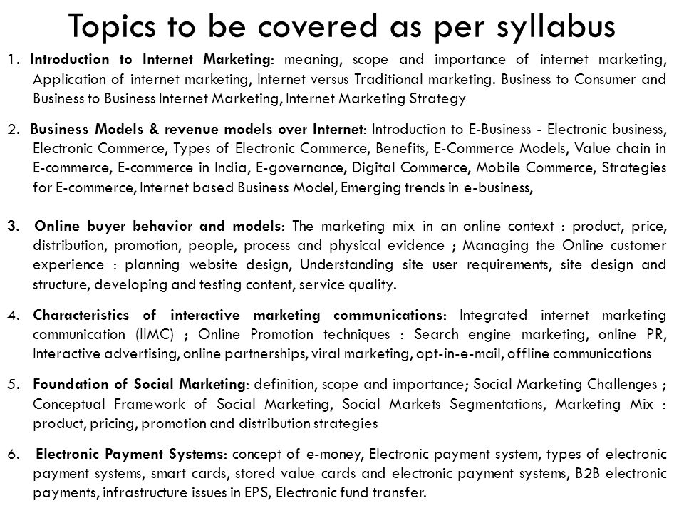 Topics to be covered as per syllabus
