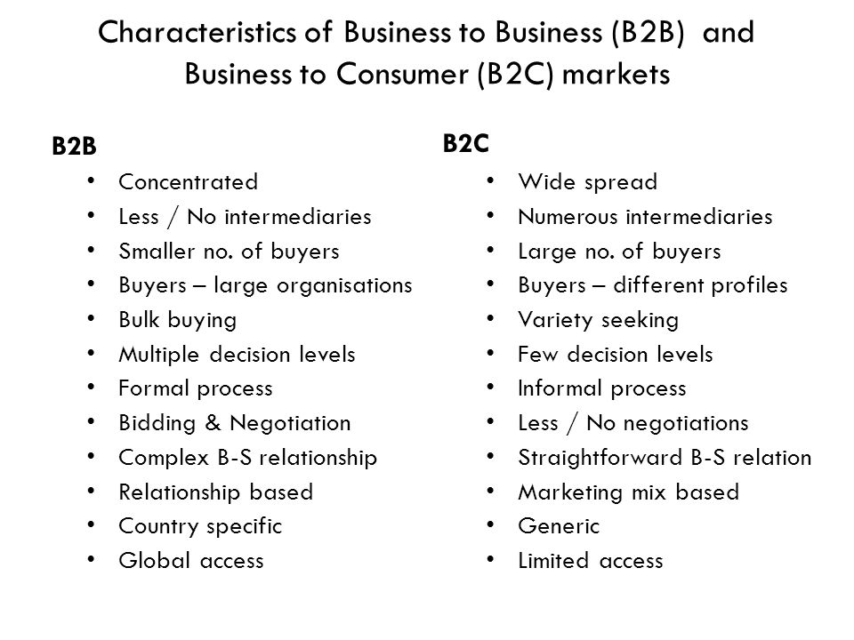 Characteristics of Business to Business (B2B) and Business to Consumer (B2C) markets
